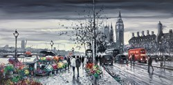 Flower Sellers, Victoria Embankment by Henderson Cisz - Oil sized 40x20 inches. Available from Whitewall Galleries